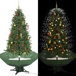 Kerstboom sneeuwend met paraplubasis 190 cm groen