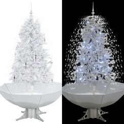 Kerstboom sneeuwend met paraplubasis 170 cm wit