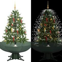 Kerstboom sneeuwend met paraplubasis 140 cm groen