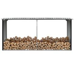 Haardhoutschuur 330x92x153 cm gegalvaniseerd staal antraciet
