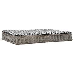 Hondenbed met kussen plat ontwerp 125x80x15 cm wilgen grijs