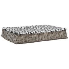 Hondenbed met kussen plat ontwerp 110x75x15 cm wilgen grijs