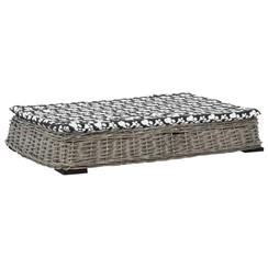 Hondenbed met kussen plat ontwerp 95x65x15 cm wilgen grijs