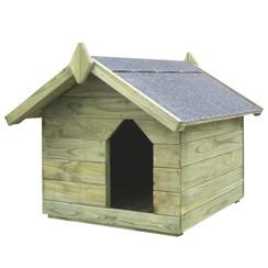 Hondenhok met opklapbaar dak geïmpregneerd grenenhout