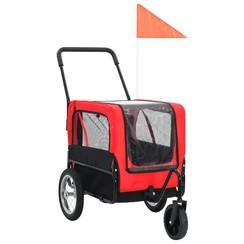 Huisdieren fietskar 2-in-1 aanhanger & loopwagen rood en zwart