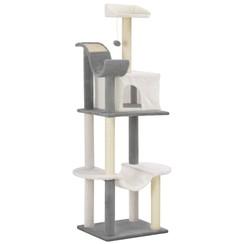 Kattenkrabpaal met sisal krabpalen 155 cm grijs en wit
