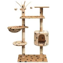 Kattenkrabpaal met sisal krabpalen 125 cm pootafdrukken beige