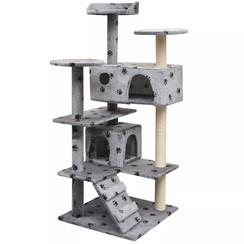 Kattenkrabpaal met sisal krabpalen 125 cm pootafdrukken grijs