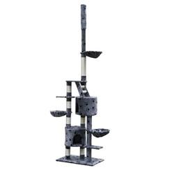 Kattenkrabpaal Luna XL 230/260 cm (grijs) met pootafdrukken