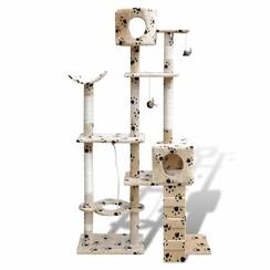 Kattenkrabpaal Tommie 175 cm 2 huisjes (beige) met pootafdrukken