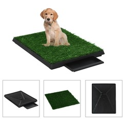 Huisdierentoilet met bak en kunstgras 63x50x7 cm groen