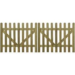 Poorten 2 st 300x120 cm geïmpregneerd hout