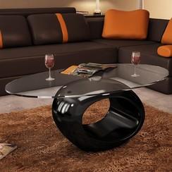 Salontafel met ovale glazen tafelblad hoogglans zwart