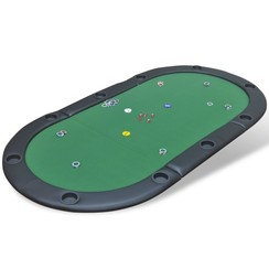 Poker tafelblad voor 10 spelers inklapbaar groen