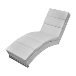 Chaise longue kunstleer wit