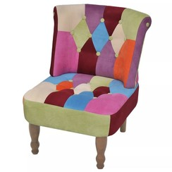 Franse stoel met patchwork ontwerp stof