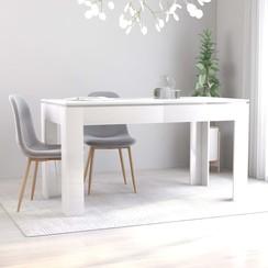 Eettafel 140x70x76 cm spaanplaat hoogglans wit