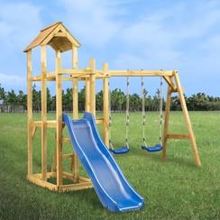 Speelhuis met glijbaan, schommel en ladder 285x305x226,5 cm