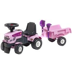 Speelgoedtractor Princess Trac met aanhanger roze