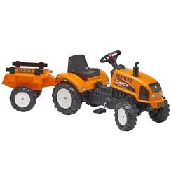Speelgoedtractor met pedalen Renault Celtis 436RX met aanhanger oranje