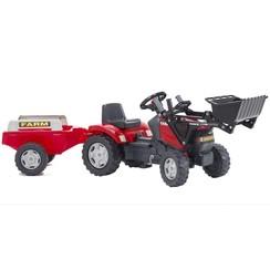 Speelgoedtractor met pedalen Case met voorlader en aanhanger rood