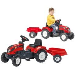 Speelgoedtractor met pedalen Case met aanhanger rood