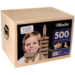 Bouwplankjes bruin hout 500 st BBLO890201