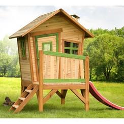 Buitenspeelhuis met glijbaan Robin hout