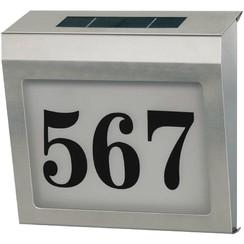 Huisnummerbord op Zonne-Energie Verlicht RVS