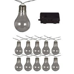 Feestverlichting op batterijen met 10 LED's doorzichtig 95110
