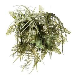 Kunstplant varen/tillandsia mix op ijzeren rek 420223