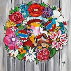 Buitenschilderij koe 79x79 cm SCH1G200