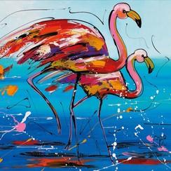 Buitenschilderij flamingo 79x79 cm SCH1G204