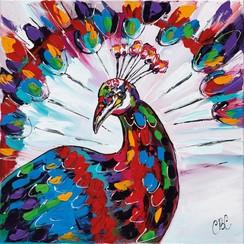 Buitenschilderij pauw 79x79 cm SCH1G202