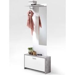 Kapstok met spiegel en opbergruimte betonkleur en wit 4019-001