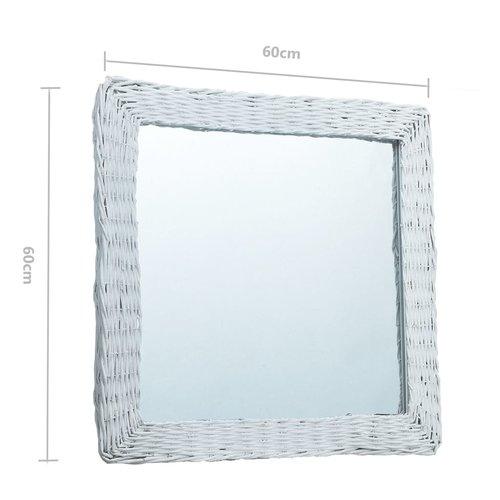 vidaXL Spiegel 60x60 cm wicker wit