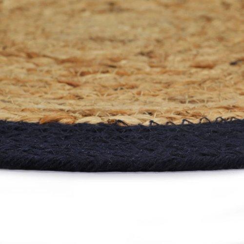 vidaXL Placemats 4 st 38 cm jute en katoen natuurlijk en marineblauw