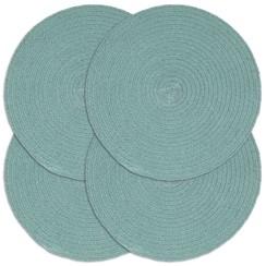 Placemats 4 st rond 38 cm katoen effen groen