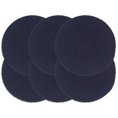 Placemats 6 st rond 38 cm katoen effen marineblauw