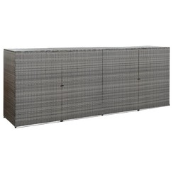 Containerberging vierdubbel 305x78x120 cm poly rattan antraciet