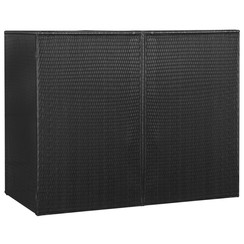 Containerberging dubbel 153x78x120 cm poly rattan zwart