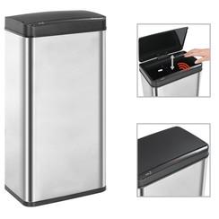 Prullenbak met automatische sensor 80 L RVS zilver en zwart