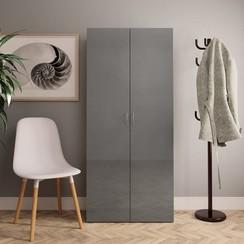Schoenenkast 80x35,5x180 cm spaanplaat hoogglans grijs