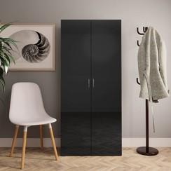 Schoenenkast 80x35,5x180 cm spaanplaat hoogglans zwart