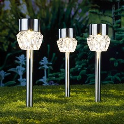 Padverlichting solar LED 3 st kristal