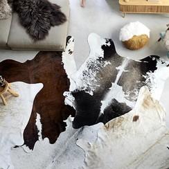 Vloerkleed 150x170 cm echte runderhuid zwart en wit