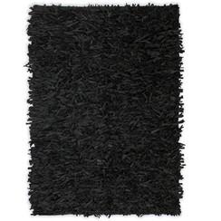 Tapijt shaggy hoogpolig 190x280 cm echt leer zwart