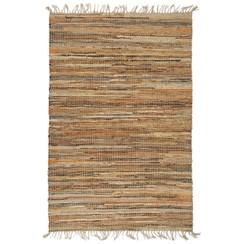 Vloerkleed chindi handgeweven 190x280 cm leer jute tan