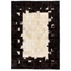 Vloerkleed vierkant patchwork 80x150 cm echt leer zwart/wit