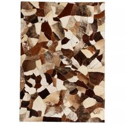 Vloerkleed gemengd patchwork 80x150 cm echt leer bruin/wit